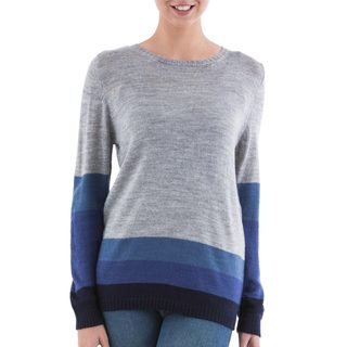 Handcrafted Acrylic 'Imagine in Blue' Pullover Sweater (Peru)