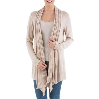Handcrafted Acrylic Alpaca Blend 'Beige Waterfall Dream' Cardigan Sweater (Peru)