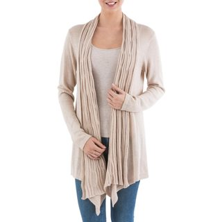 Handmade Acrylic Alpaca Blend 'Beige Waterfall Dream' Cardigan Sweater (Peru)