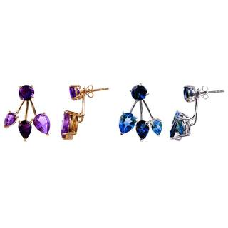14K Gold Gemstone Front-Back Stud Earrings