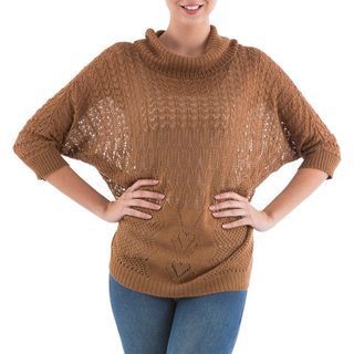 Handmade Acrylic Alpaca Blend 'Evening Flight in Copper' Pullover Sweater (Peru)