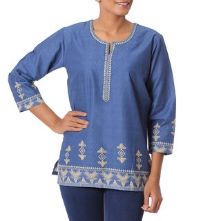 Handcrafted Cotton 'Blue Geometric Brilliance' Tunic (India)