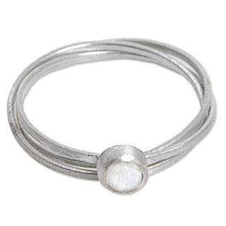Set of 3 Handmade Sterling Silver 'Magical Force' Rainbow Moonstone Rings (Indonesia)