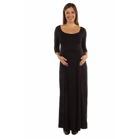 24/7 Comfort Apparel Women's On Trend, Figure Flattering Maternity Maxi Dress