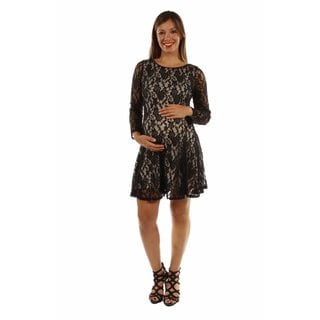24/7 Comfort Apparel Women's Lace and Fire Midi Maternity Dress