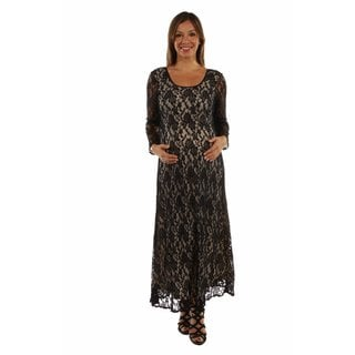 24/7 Comfort Apparel Women's Lace CrissCross Maxi Maternity Dress