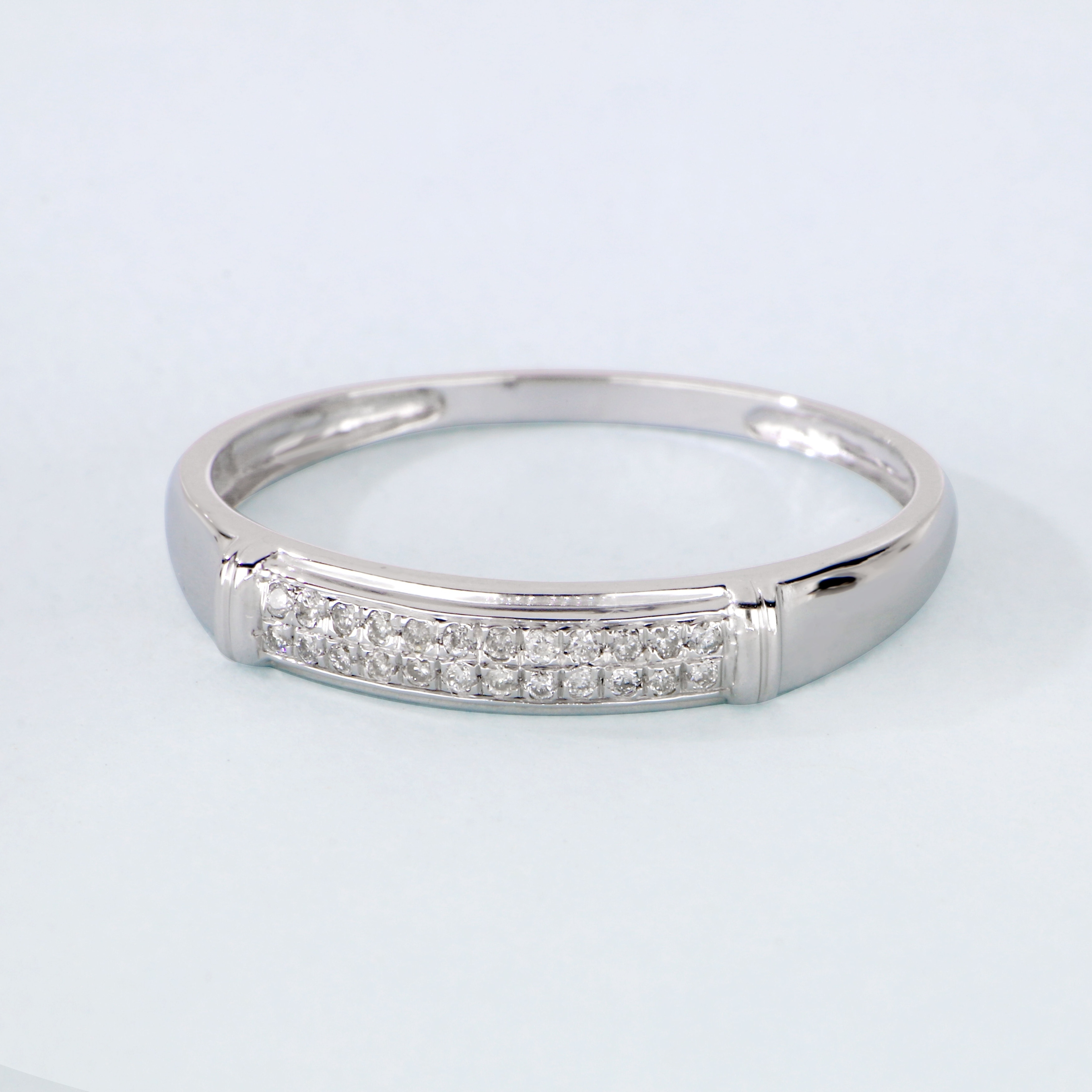 Diamond Mens Flat Band Ring 1//6ct 925 Sterling Silver