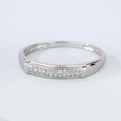 De Couer S925 Sterling Silver 1/8ct TDW Diamond Men's Band
