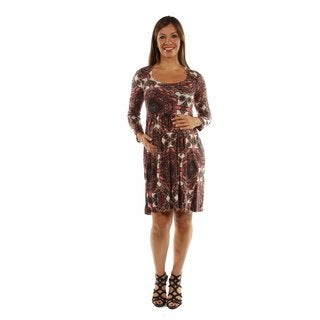 24/7 Comfort Apparel Women's Bellissima Patterned Maternity Midi Dress