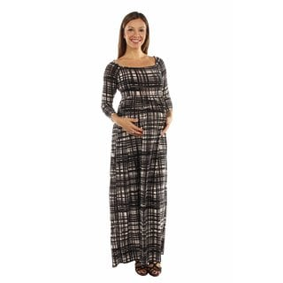 24/7 Comfort Apparel Women's Graceful Glamour Patterned Maternity Maxi Dress