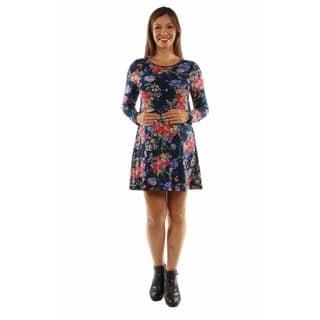 24/7 Comfort Apparel Women's Stunning Floral Midi Maternity Dress|https://ak1.ostkcdn.com/images/products/13227086/P19944026.jpg?impolicy=medium