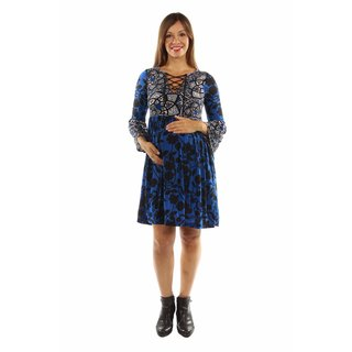24/7 Comfort Apparel Women's True Colors Lace-up Blue Maternity Midi Dress