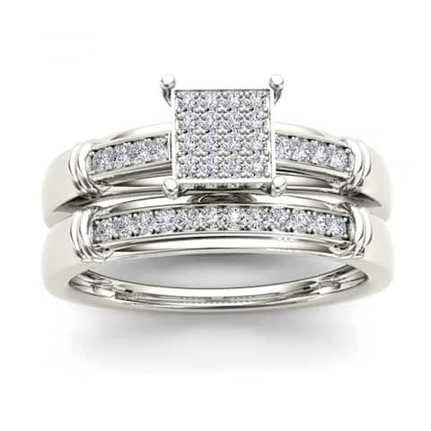 De Couer S925 Sterling Silver 1/5ct TDW Diamond Wedding Ring Set - White H-I
