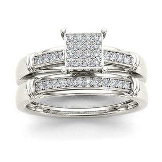 De Couer S925 Sterling Silver 1/5ct TDW Diamond Wedding Ring Set