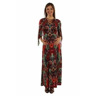 24/7 Comfort Apparel Women's Dazzling Jewel Print Maxi Maternity Dress