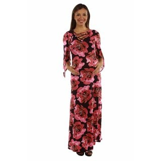 24/7 Comfort Apparel Women's Bewitching Floral Lace-up Maternity Maxi Dress Caftan