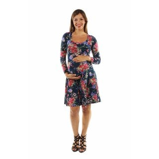 24/7 Comfort Apparel Women's Slim and Pretty Floral Maternity Midi Dress