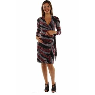 24/7 Comfort Apparel Women's The Perfect Print Faux Wrap Maternity Dress
