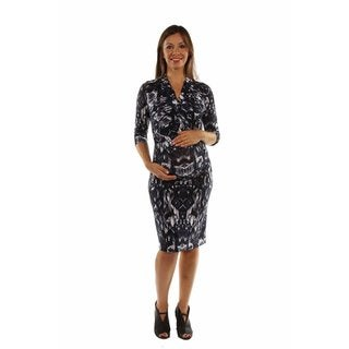 24/7 Comfort Apparel Women's Fabulous Faux Wrap Maternity Dress