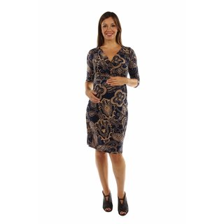 24/7 Comfort Apparel Women's Dreamy Print Midi Maternity Dress