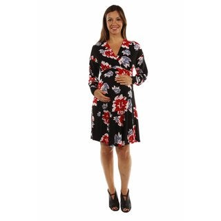 24/7 Comfort Apparel Women's Charming Color Splash Maternity Dress