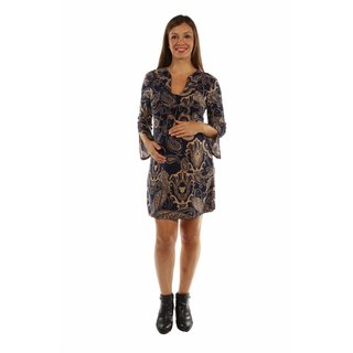 24/7 Comfort Apparel Women's Sexy Smart Taupe Pattern Maternity Midi Dress