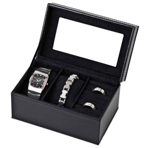Black Jewelry Box with 2-Watch Slot Case