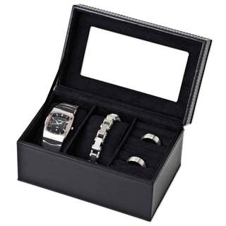 Black Jewelry Box with 2-Watch Slot Case