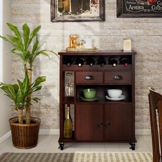 Furniture of America Faythen Mobile Espresso Serving Cart/Mini Bar