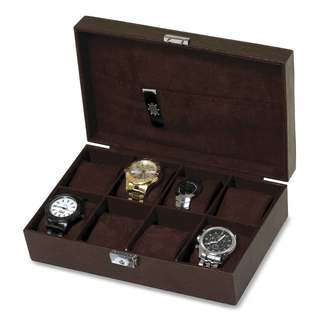 Brown Embossed Faux Leather Watch Box Case 8-Slot