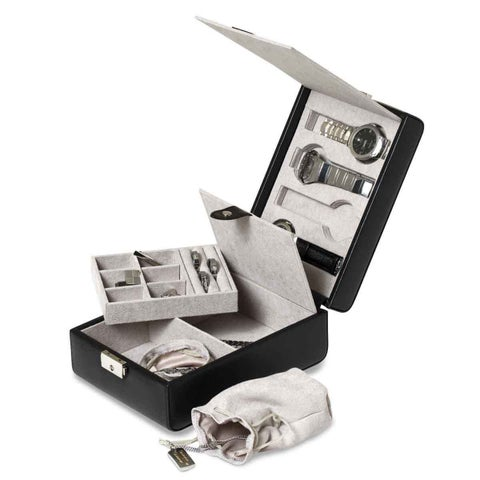 Black Polyurethane Jewelry and 4-Watch Case