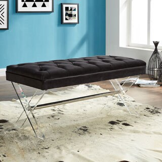Armen Living Joanna Ottoman Bench with Tufted Velvet, Crystal Buttons and Acrylic Legs