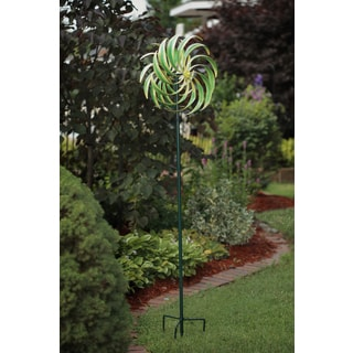 Green Metal Corn Leaf Wind Spinner