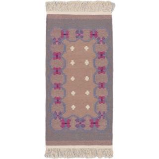 eCarpetGallery Palas Denizli Ivory Wool Handwoven Kilim (2'5 x 4'10)