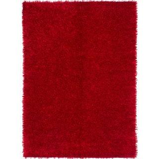 eCarpetGallery Hand-knotted Retro Plush SRD1 Red Polypropylene and Cotton Shag Rug (5'5 x 7'6)