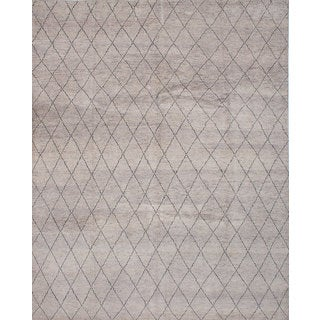 eCarpetGallery Arlequin Grey Wool Hand-knotted Rug (9' x 12')