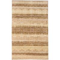 eCarpetGallery La Seda Brown/Ivory Hand-knotted Wool/Art Silk Rug (4'11 x 8'1)