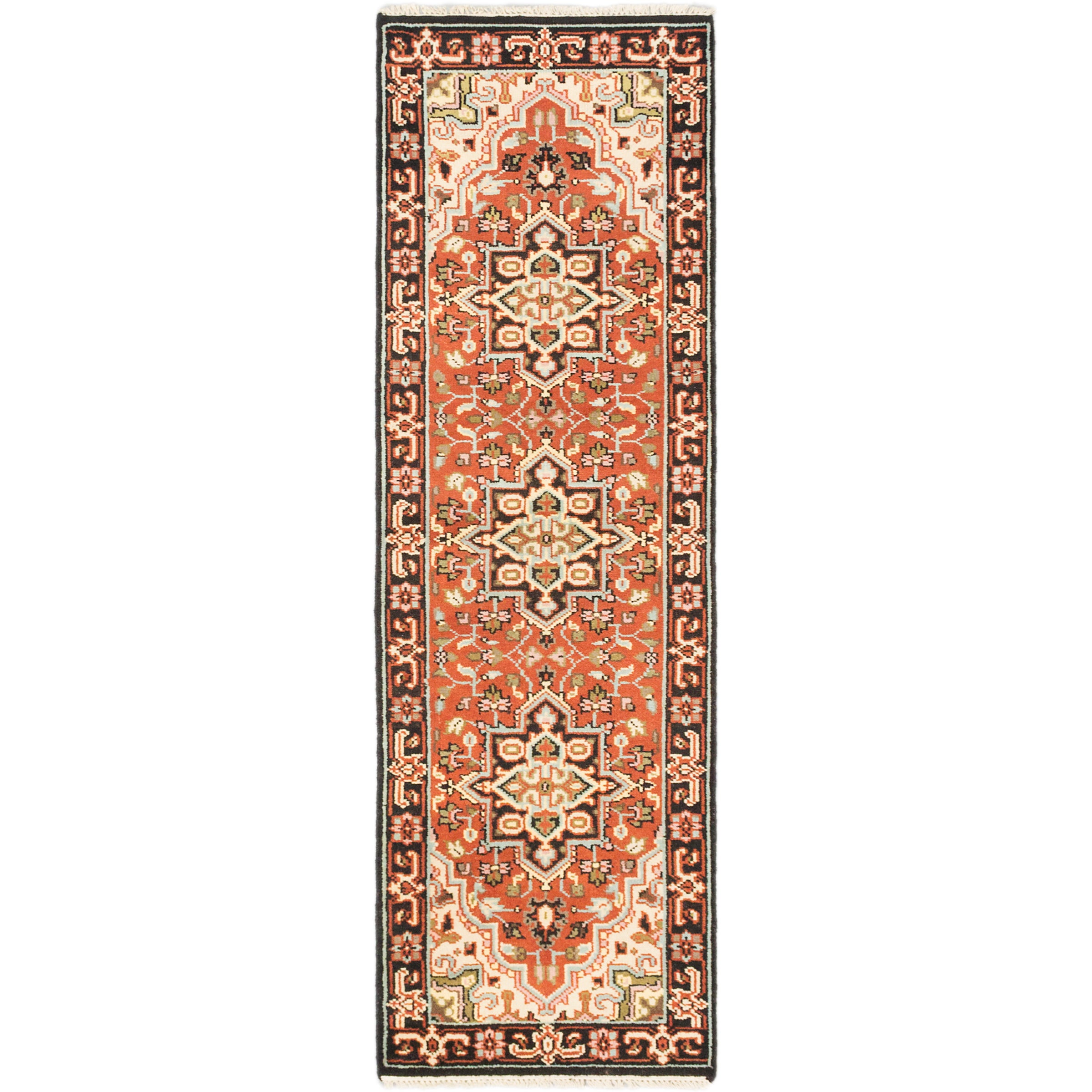 ecarpetgallery Multicolored Wool Hand-knotted Royal Heriz Rug (27 x 80) (Brown Copper Rug (2 x 8))
