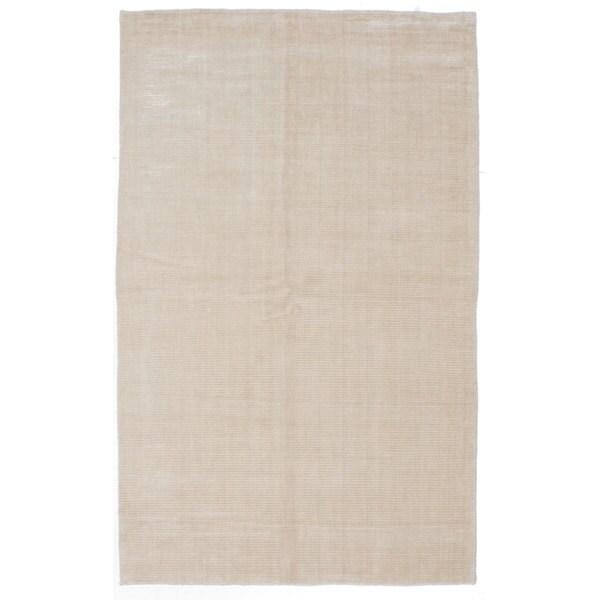 ECARPETGALLERY Cream Wool/Cotton/Art Silk Hand-knotted Shimmery Rug (5'0 x 8'0) - 5' x 8'