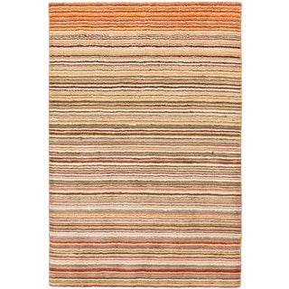 eCarpetGallery Luribaft Gabbeh Riz Ivory/Orange Wool and Cotton Hand-knotted Rug (4' x 6')