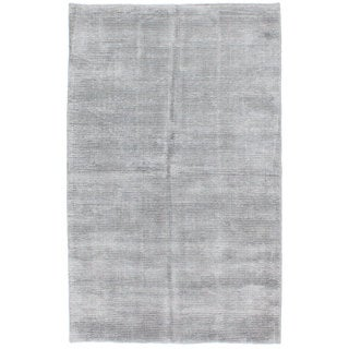 eCarpetGallery Hand-knotted Shimmer Grey Art Silk Rug (5' x 8')
