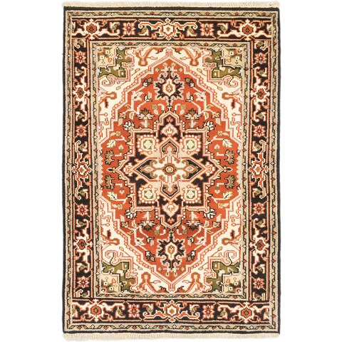 eCarpetGallery Brown Wool Hand-Knotted Royal Heriz Rug (4'0 x 6'0)