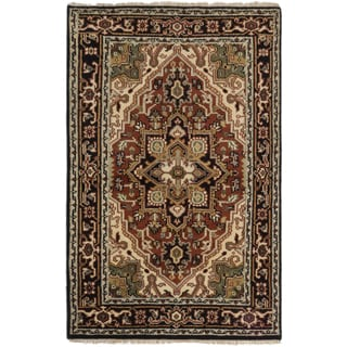 ecarpetgallery Brown Wool/Cotton Hand-knotted Royal Heriz Rug (4' x 6')