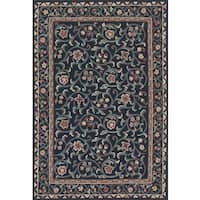 eCarpetGallery French Tapestry Black/Green Wool Hand-knotted Sumak Rug (4'0 x 6'0)
