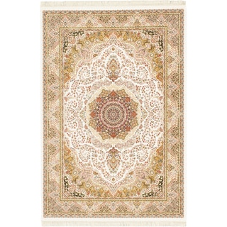 eCarpetGallery King David 400 Lines Handspun White/Multicolor Viscose from Bamboo /Cotton Handmade Rug (7'10 x 11'2)