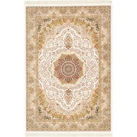 eCarpetGallery King David 400 Lines Handspun White/Multicolor Viscose from Bamboo /Cotton Handmade Rug - 7'10 x 11'2