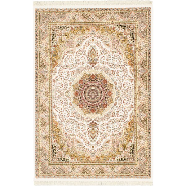 Ecarpetgallery King David 400 Lines Handspun White Multicolor Viscose From Bamboo Cotton Handmade Rug 7 10 X 11 2 Free Shipping Today