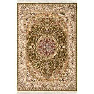 ecarpetgallery Hand Made King David 400 Lines Green Handspun Bamboo Silk Rug (7'10 x 11'2)