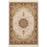 eCarpetGallery King David White Handspun Viscose from Bamboo Area Rug - 7'10 x 11'2