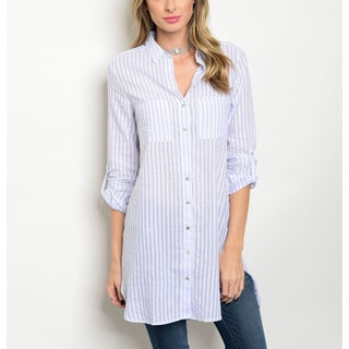 JED Women's Polyester Blend Long Sleeve Striped Button Down Tunic Shirt
